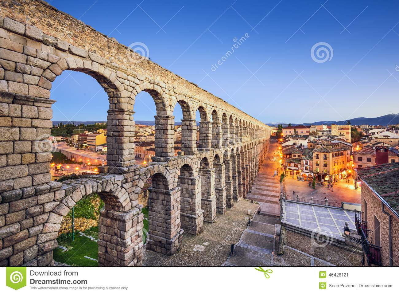 Download Segovia, Spain Aqueduct stock image. Image of townscape - 46428121