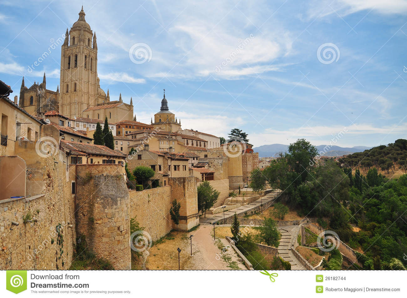 Segovia View Of The Old Town. Castile, Spain Stock Images - Imagecastile town