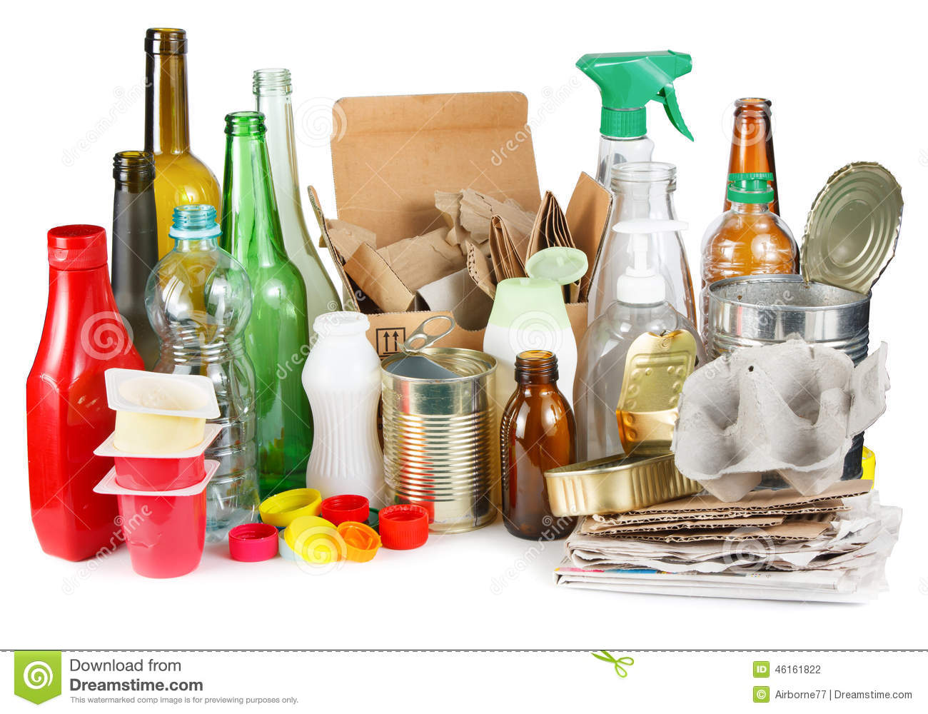 Segregated garbage stock photo image of impact bottle for Reuse glass