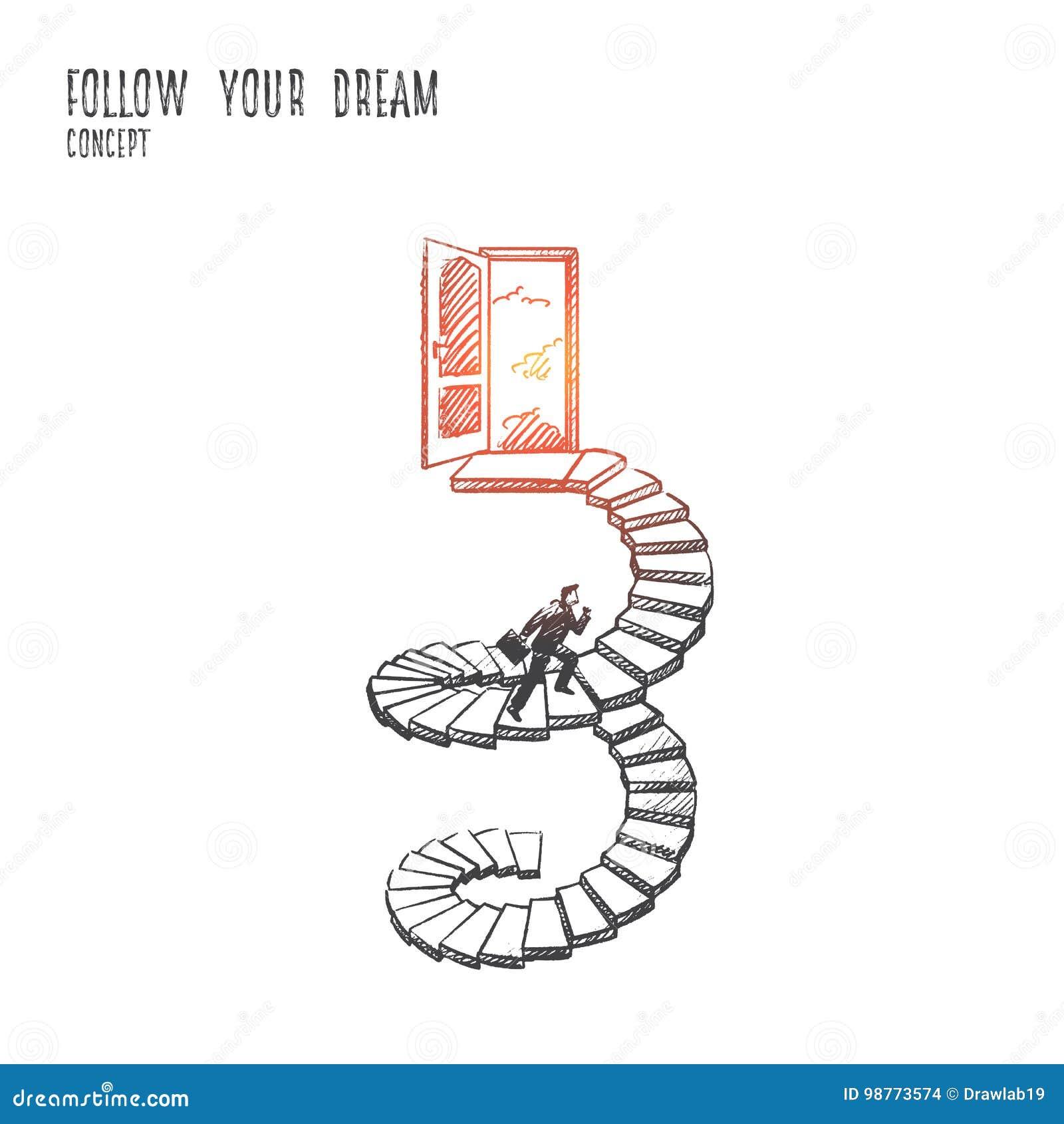 Segua il vostro concetto di sogno Vettore isolato disegnato a mano
