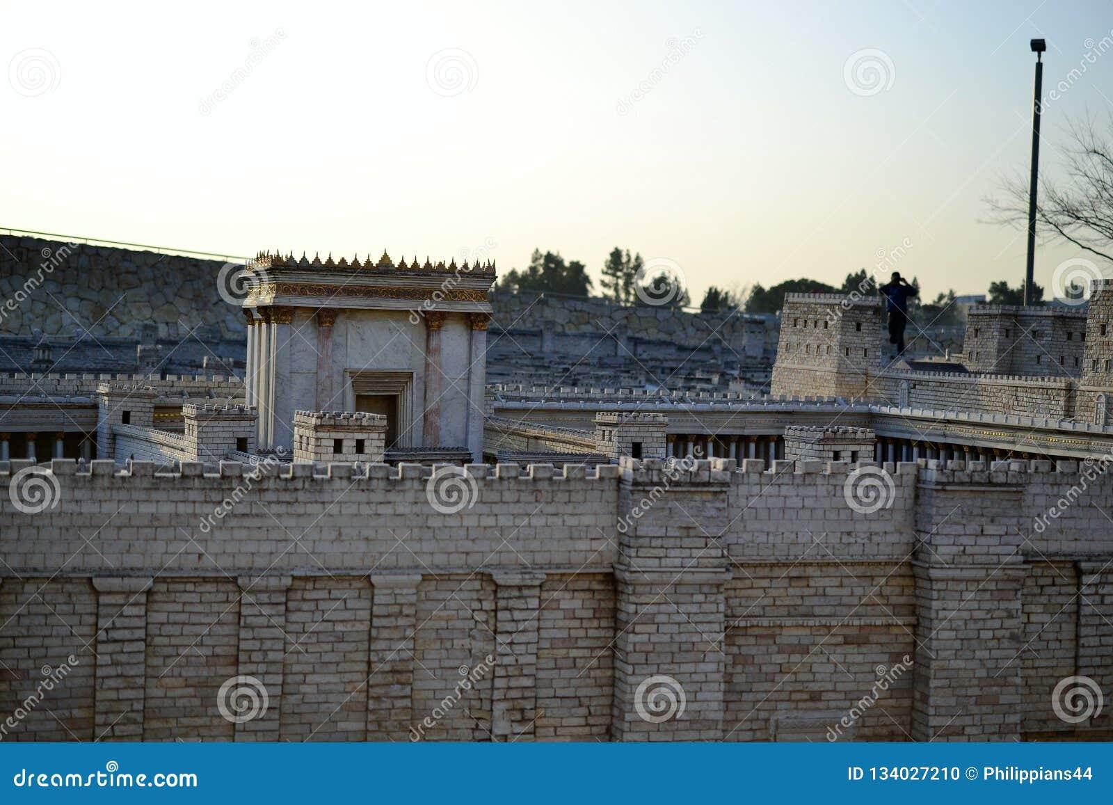 Segundo templo Modelo do Jerusalem antigo Israel Museum no Jerusalém