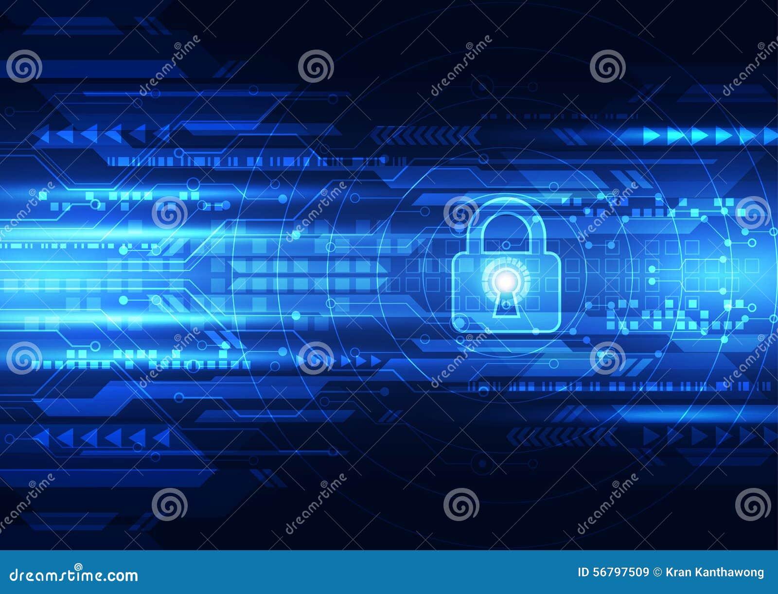 Segurança abstrata da tecnologia no fundo da rede global, ilustração do vetor