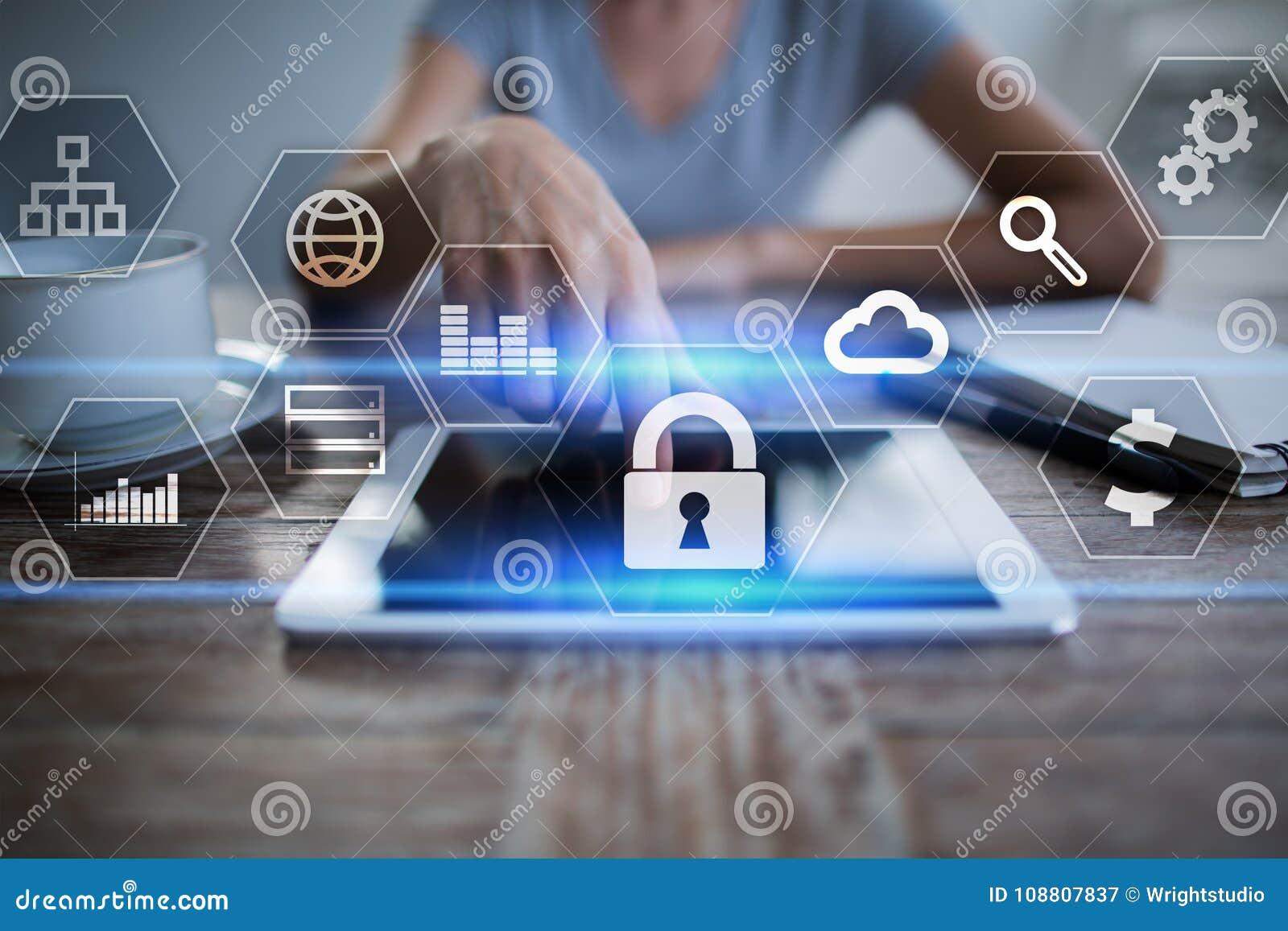 Segurança da proteção de dados, do Cyber, segurança da informação e criptografia tecnologia do Internet e conceito do negócio