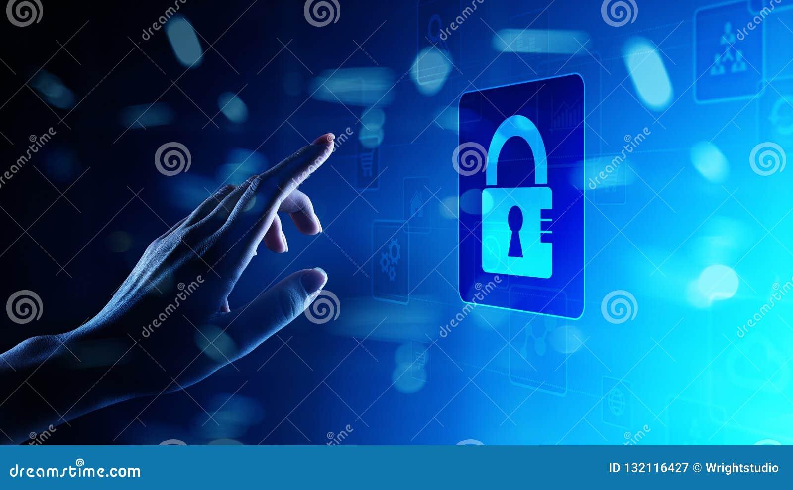 Segurança do Cyber, proteção de dados pessoal, privacidade da informação Ícone do cadeado na tela virtual Conceito da tecnologia