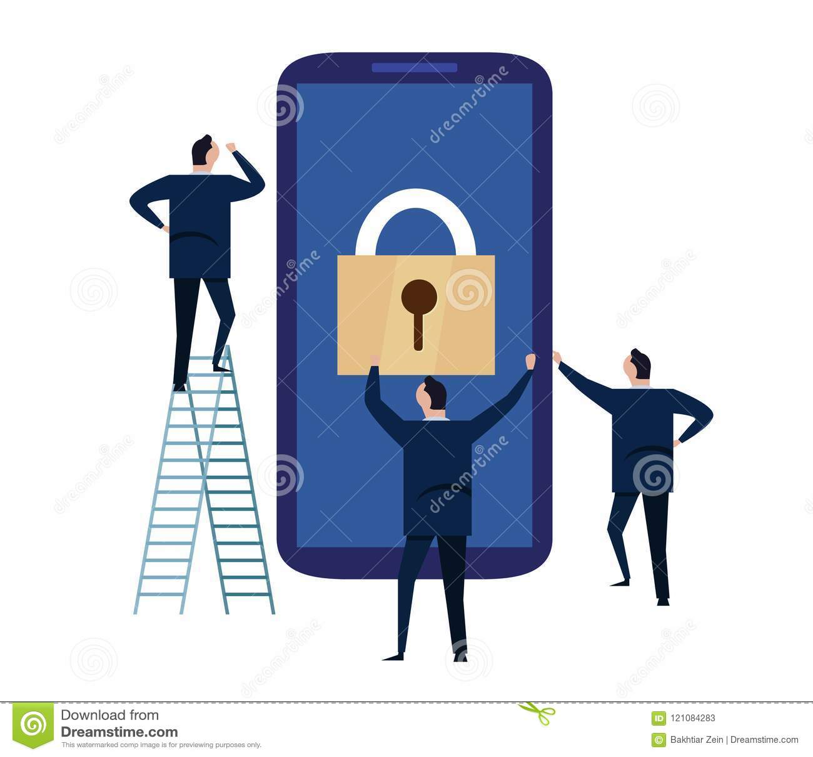 Segurança do dispositivo móvel Conceito da segurança do Cyber informações pessoais e dados de proteção com smartphone Ilustração