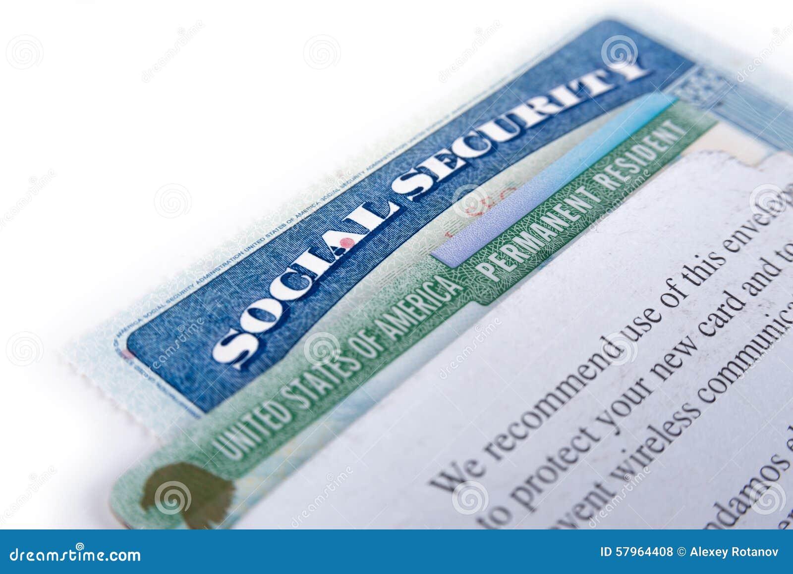 Segurança social do Estados Unidos da América e cartão verde