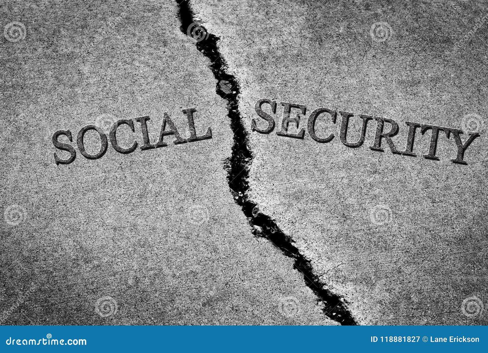Segurança social quebrada perigosa Sav do cimento rachado velho do passeio