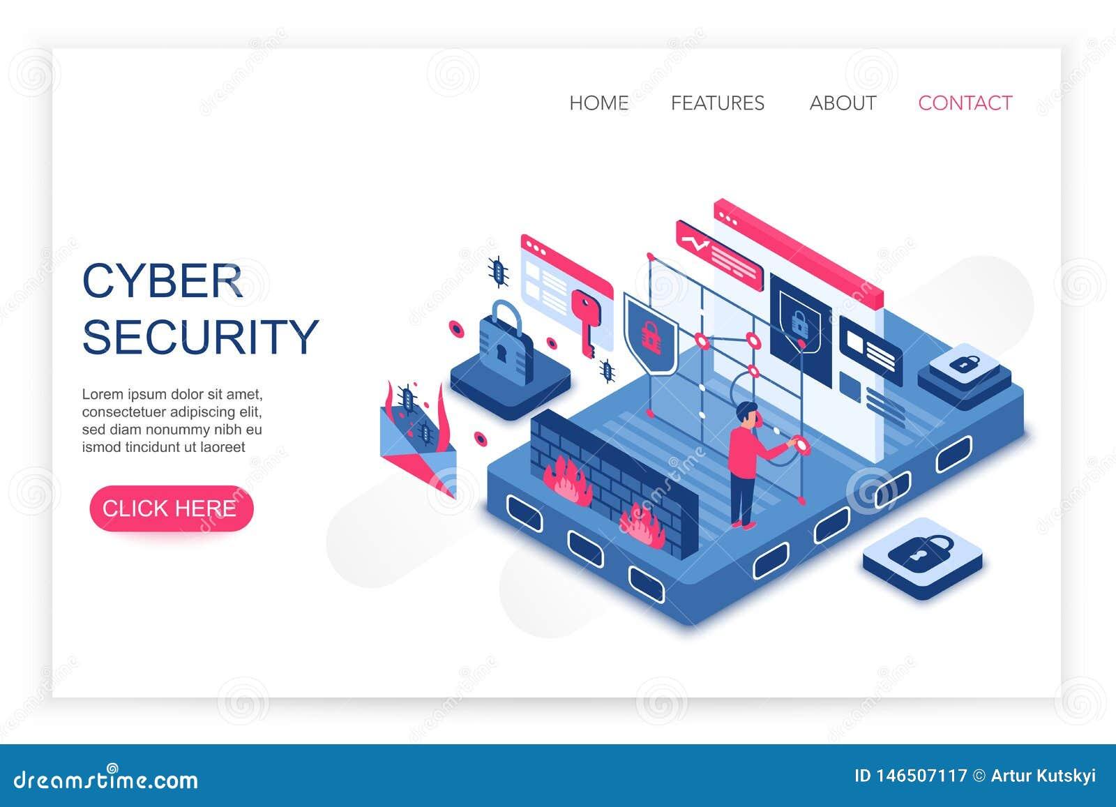 Seguridad cibernética, ahorro personal de los datos de la nube, ejemplo isométrico del vector de la plantilla de la web del conce