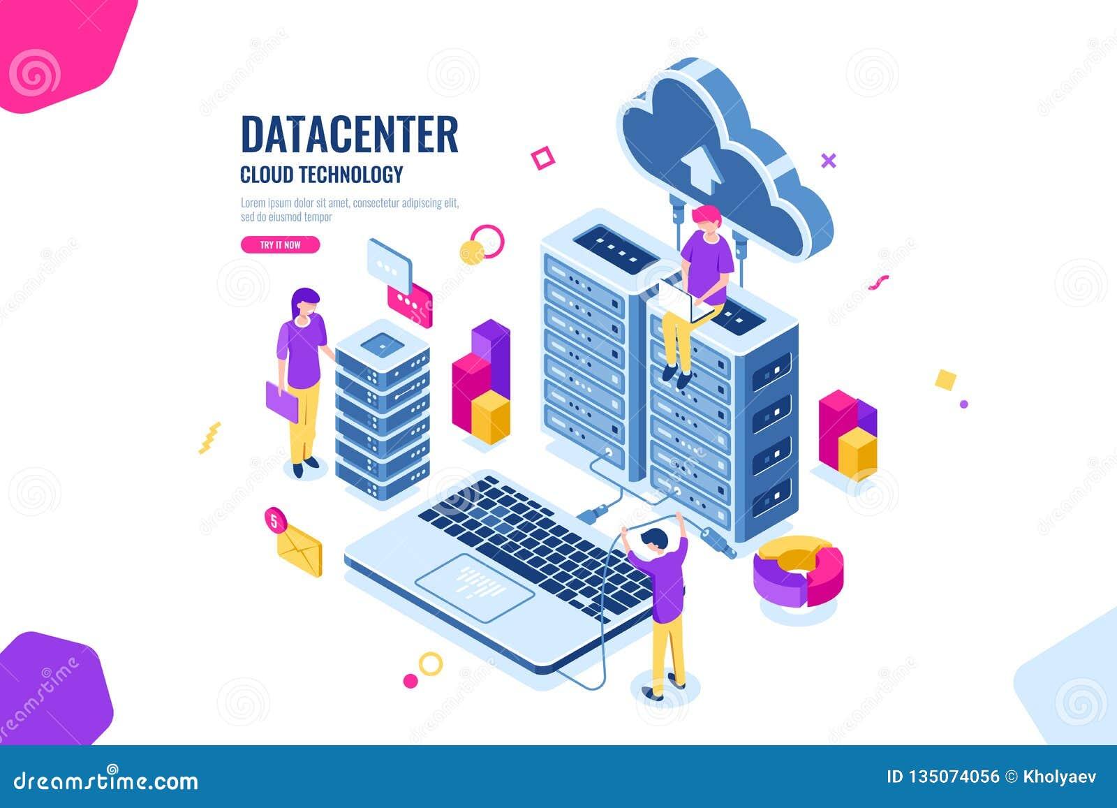 Seguridad de datos isométrica, ingeniero informático, centro de datos y sitio del servidor, nube que computa, gente que trabaja j