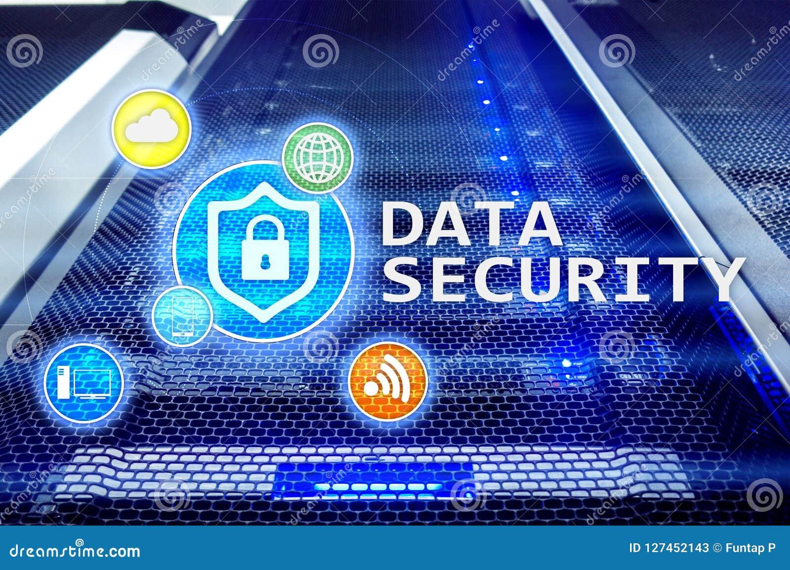 Seguridad de datos, prevención de la delincuencia cibernética, protección de información de Digitaces Cierre los iconos y el fond