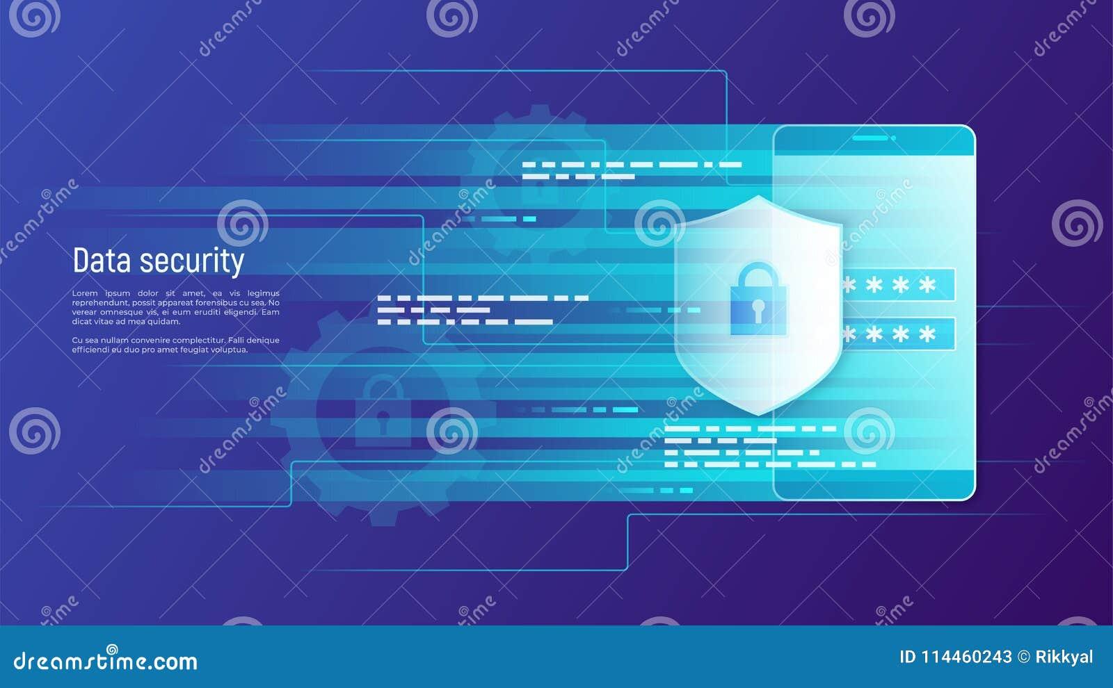 Seguridad de datos, protección de información, estafa del vector del control de acceso