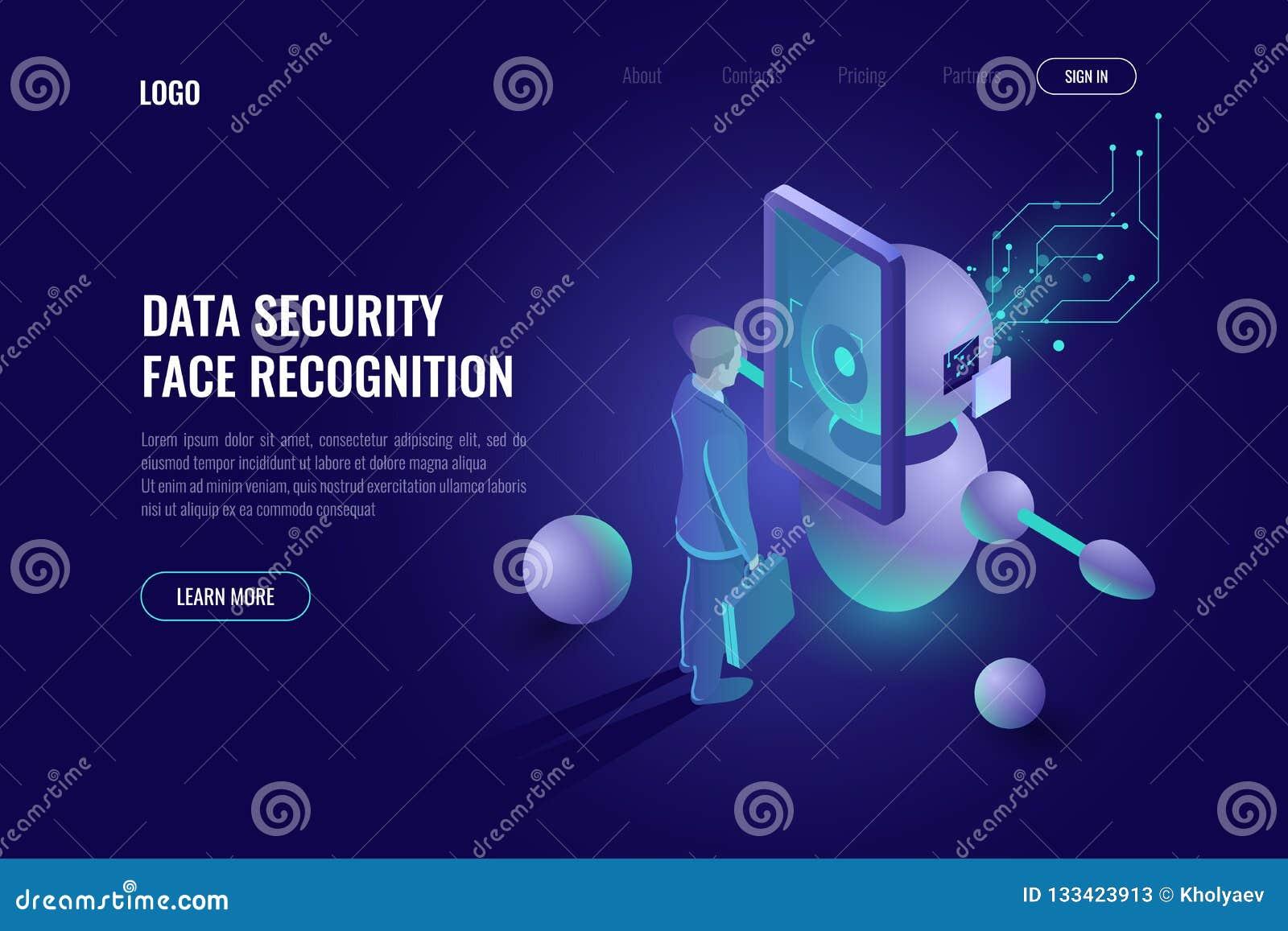 Seguridad de datos, sistema de reconocimiento de cara, exploraciones humanas, tecnología de la robótica, industria 4 del robot 0,