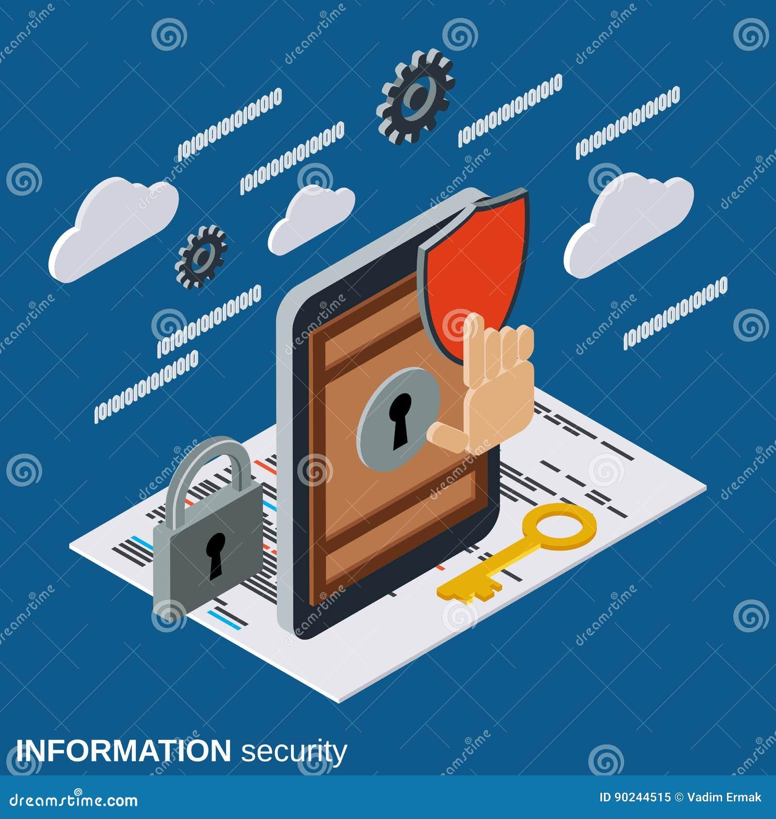 Seguridad de información, concepto del vector de la protección del teléfono móvil