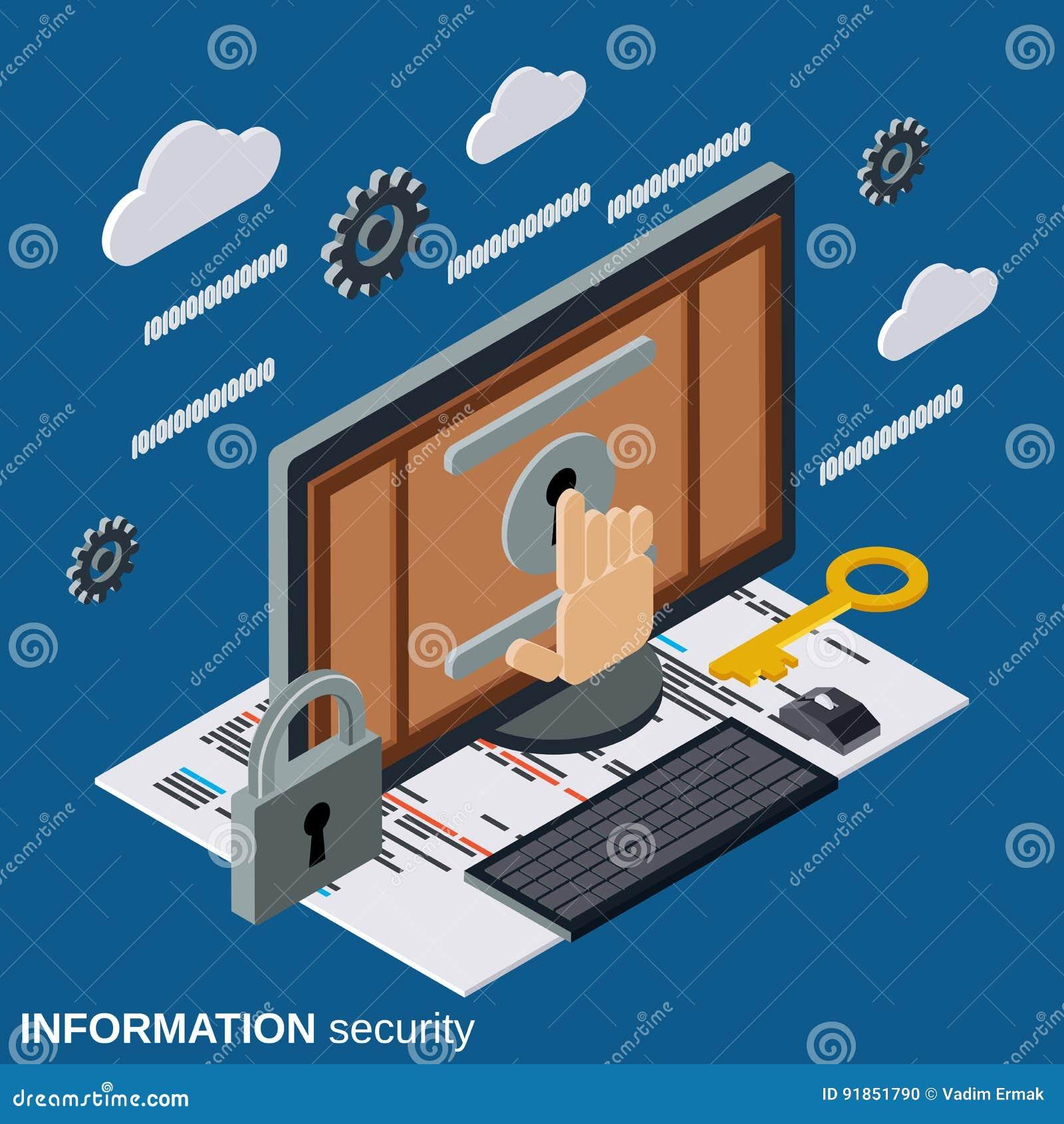 Seguridad de información, concepto isométrico plano del vector de la protección del ordenador
