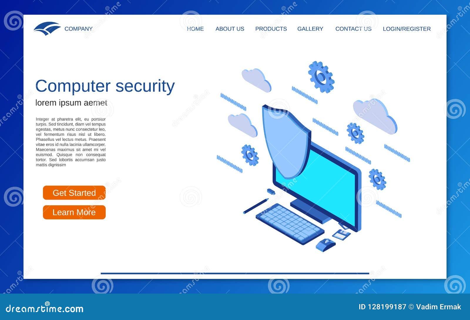 Seguridad informática, concepto isométrico plano del vector 3d de la protección de información