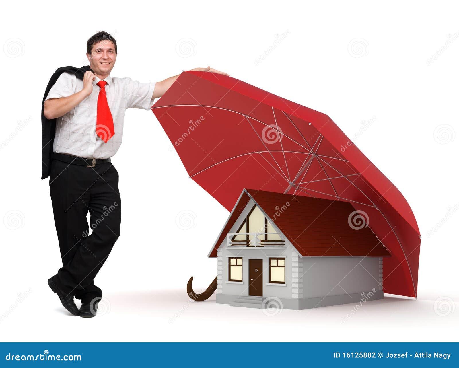 Seguro da casa homem de neg cio guarda chuva vermelho - Seguros para casas ...