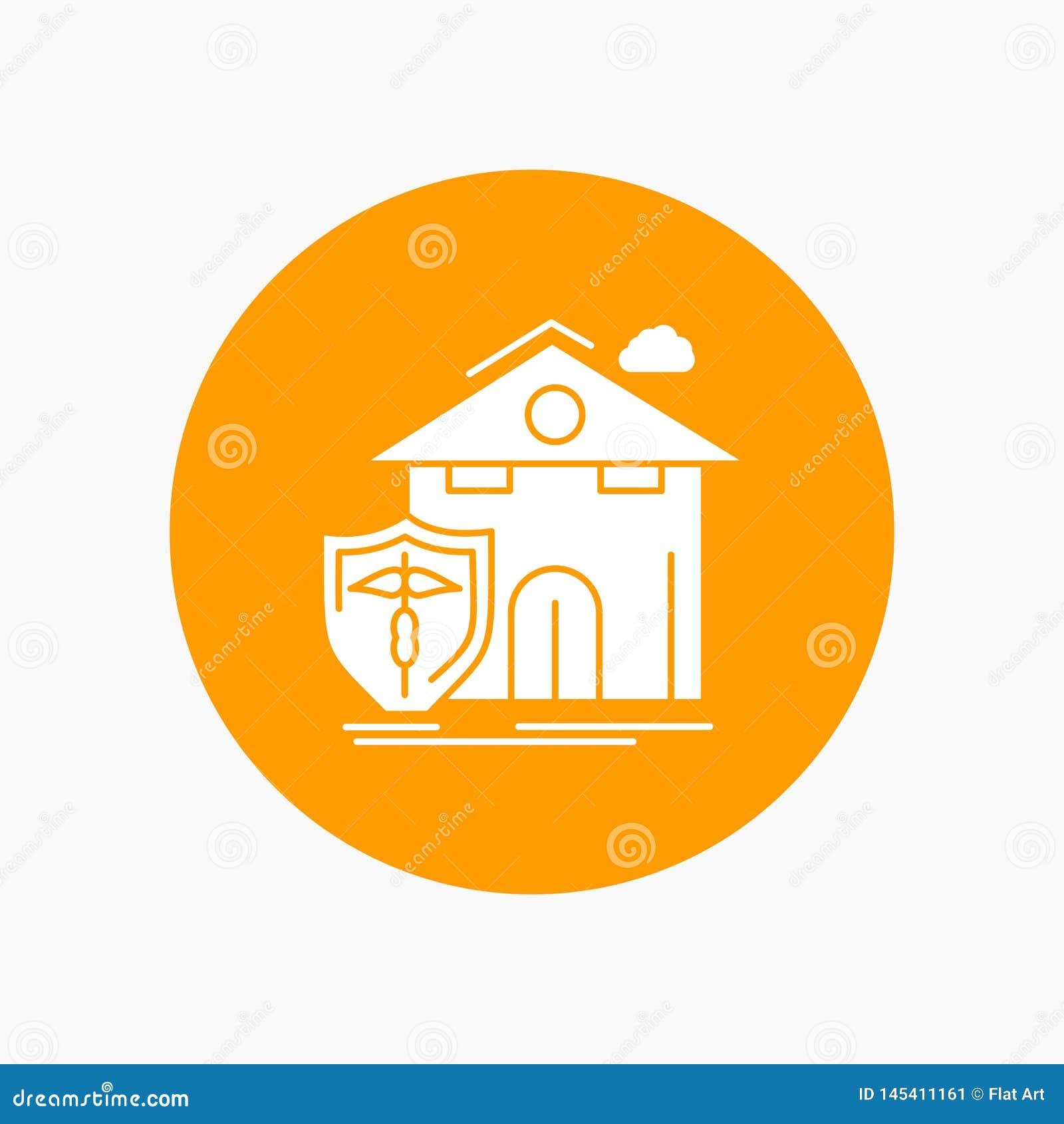 Seguro, hogar, casa, muerte, icono blanco del Glyph de la protección en círculo Ejemplo del bot?n del vector