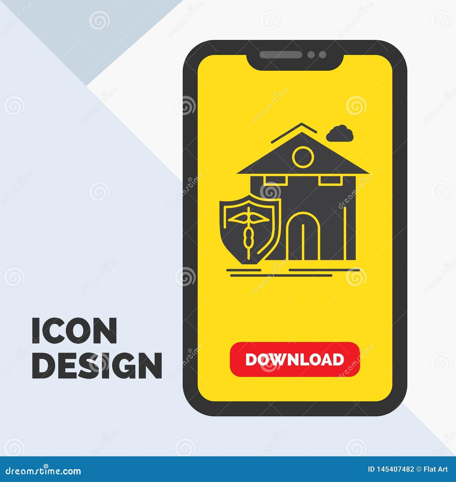 Seguro, hogar, casa, muerte, icono del Glyph de la protección en el móvil para la página de la transferencia directa Fondo amaril