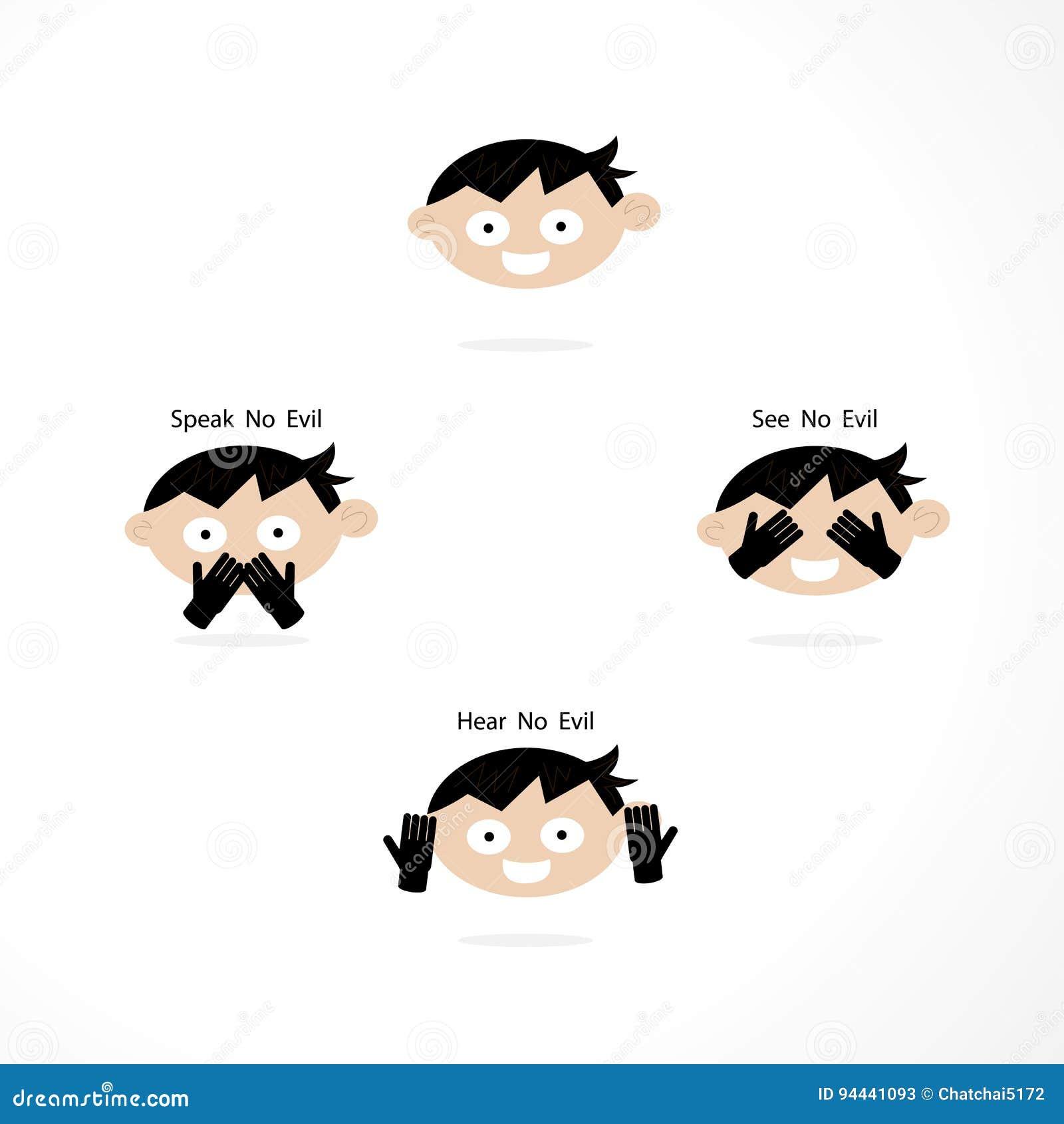 Sehen Sie kein Übel, hören Sie kein Übel, sprechen Sie kein Übel Karikatur-Humor-Konzept