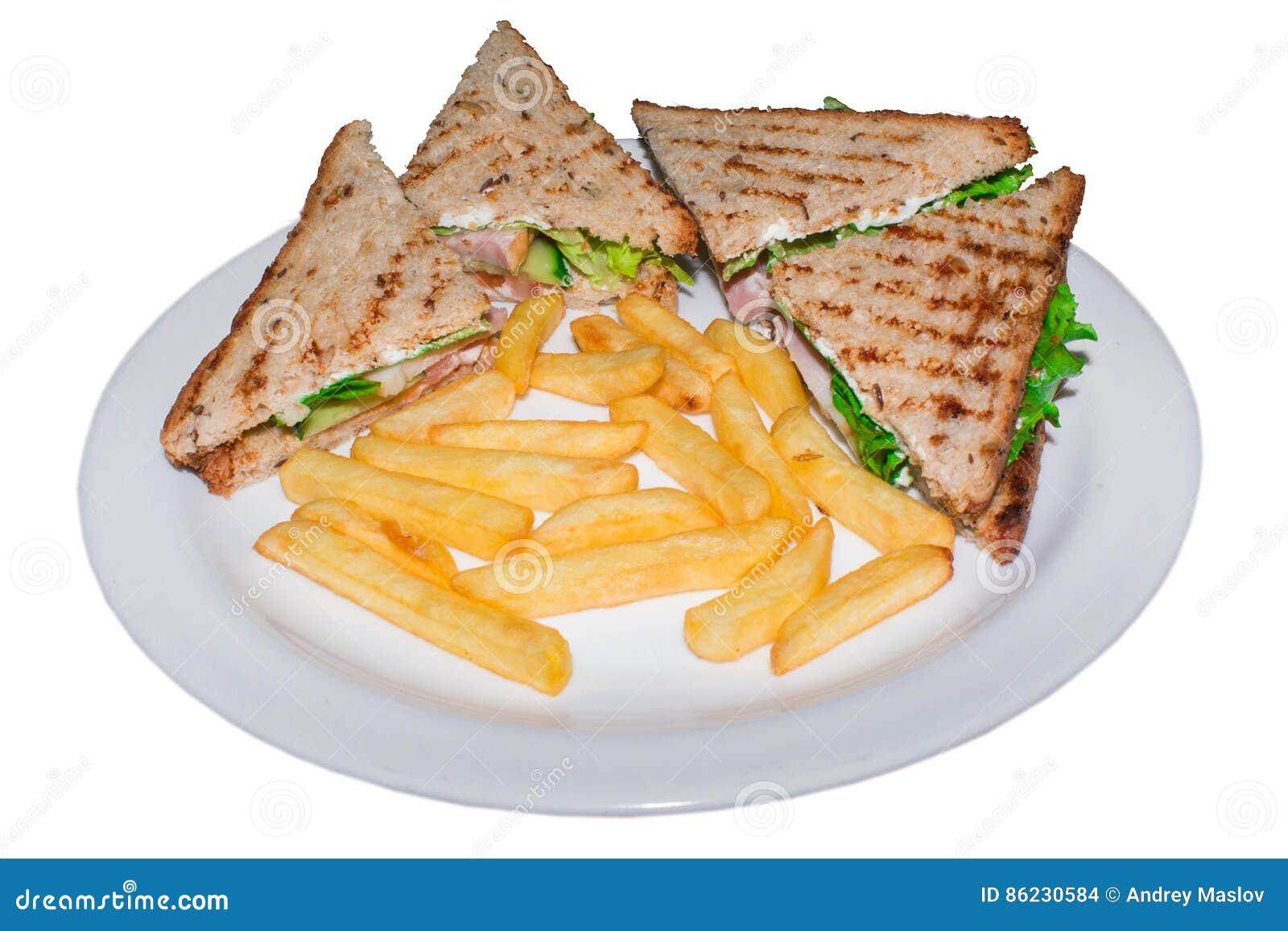 Sehr geschmackvolle belegte Brote mit Hühnerfleisch schlagen Lüge auf einer lokalisierten Platte mit einer Keule