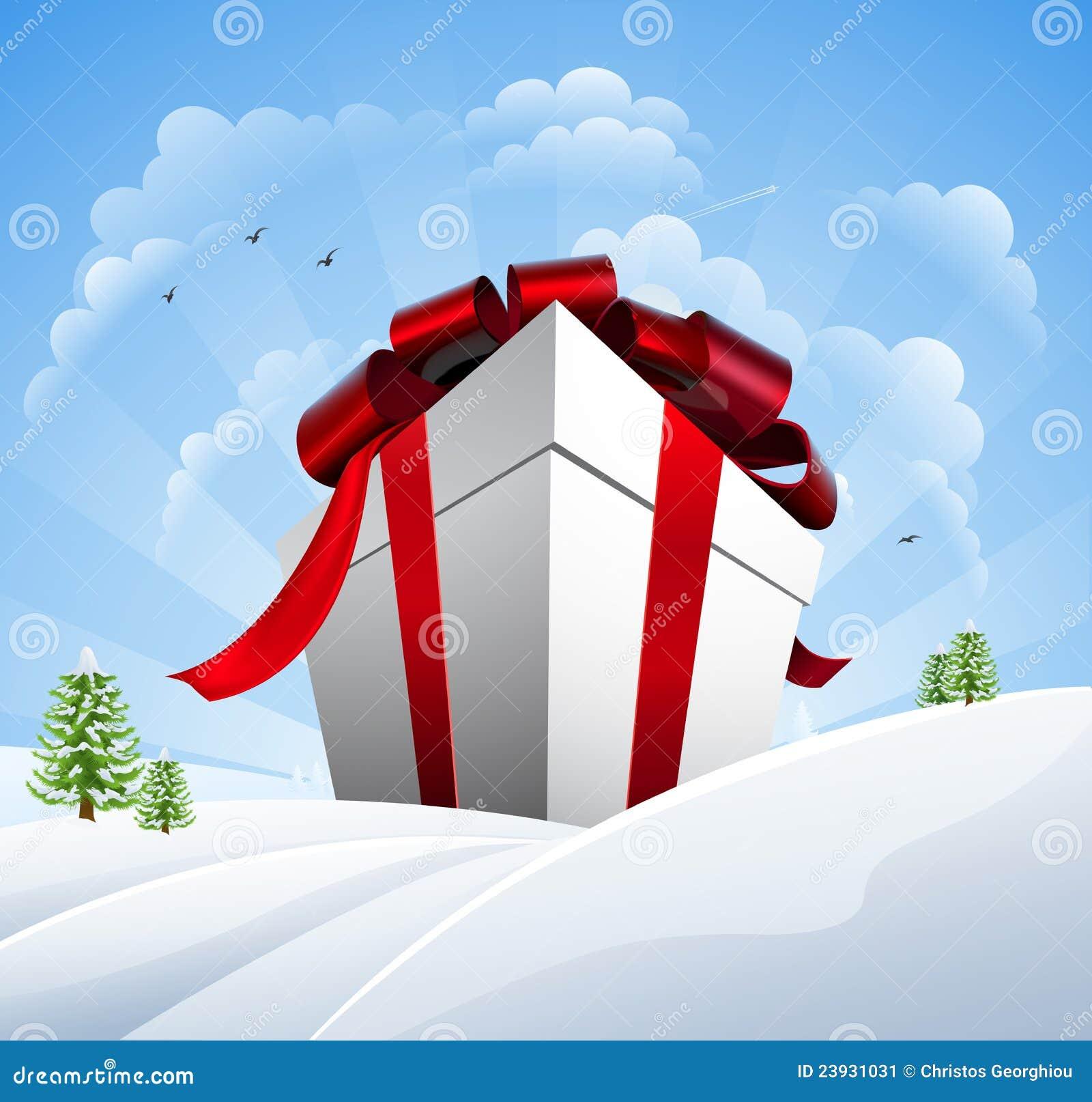 Sehr Großes Weihnachtsgeschenk Im Schnee Vektor Abbildung ...