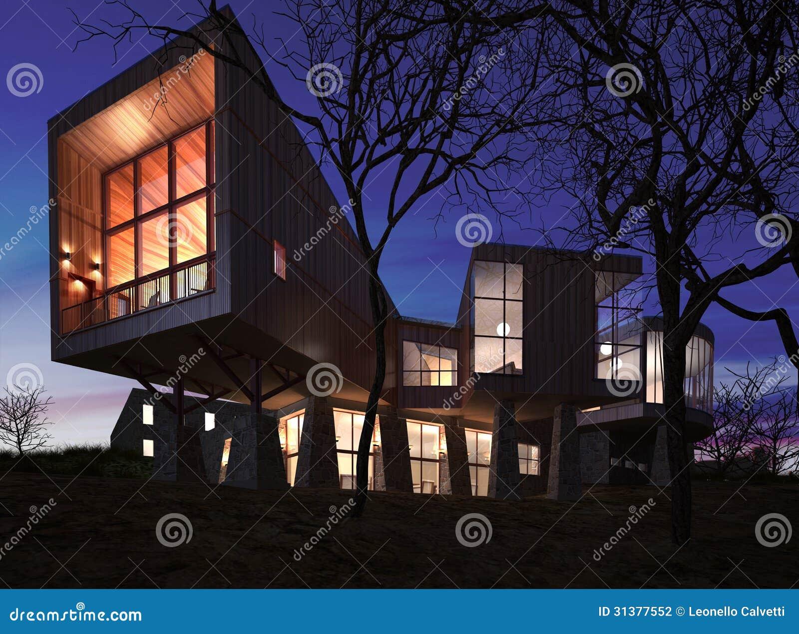 sehr modernes stilvolles haus gemacht vom holz vom stein und vom glas stock abbildung. Black Bedroom Furniture Sets. Home Design Ideas