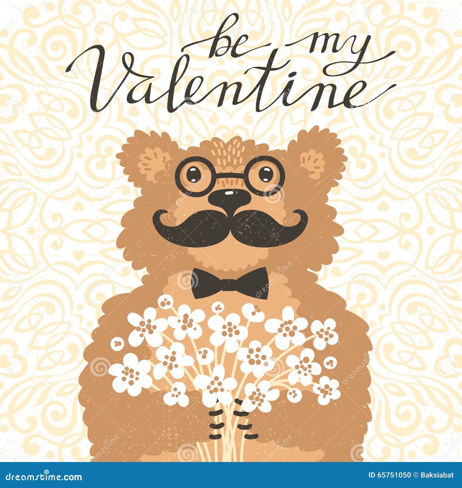 Seien Sie Mein Valentine Hipster Bar Mit Einem Blumenstrauss Von