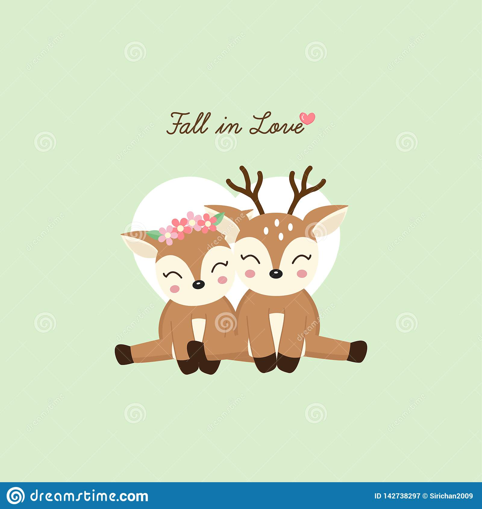 Seien Sie mein Valentinsgruß Nette Paare lieb mit Blumenkrone in Blumen in der Karikaturart