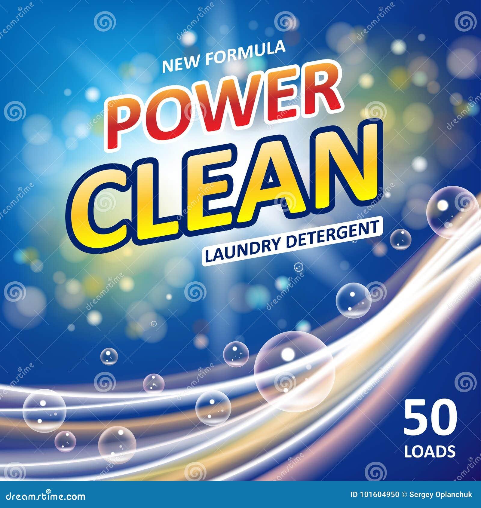 Seifenfahnen-Anzeigendesign der Energie sauberes Waschmittel-bunte Schablone Waschpulver oder flüssige Reinigungsmittel-Paket