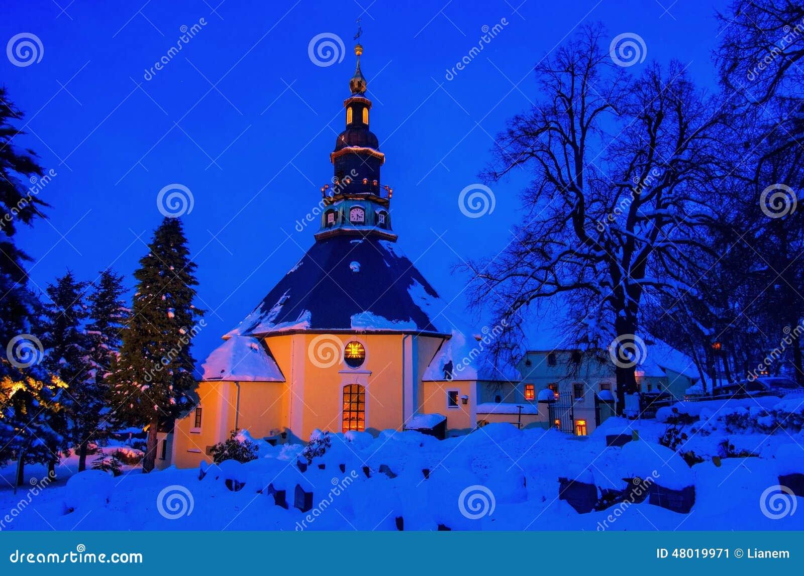 seiffen kirche im winter stockbild bild von abend. Black Bedroom Furniture Sets. Home Design Ideas
