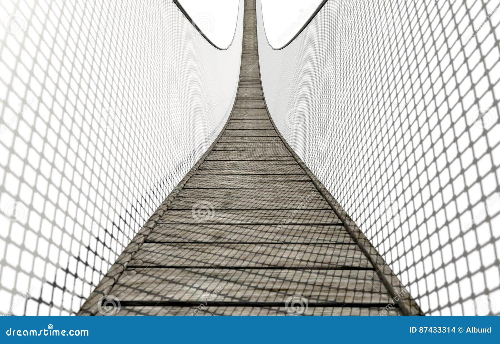 Seil-Brücke auf Weiß