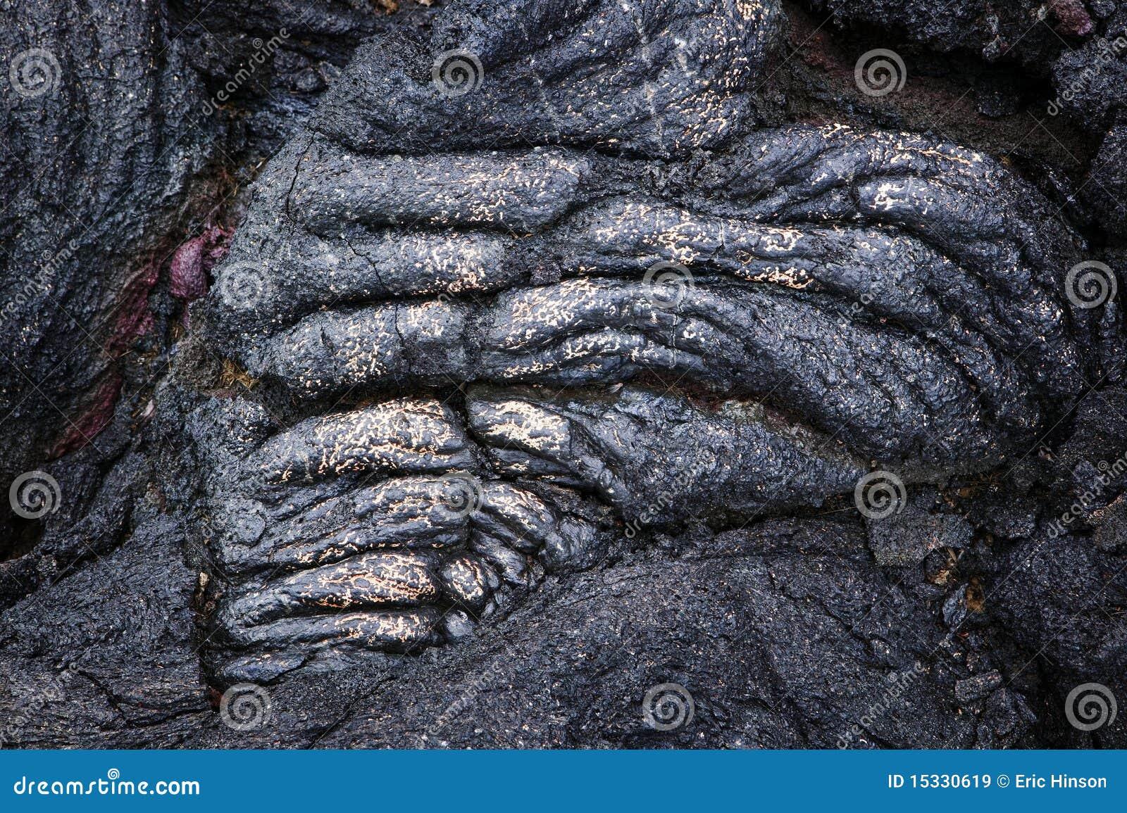 Seil-Lava-Detail mit Gold, Hawaii