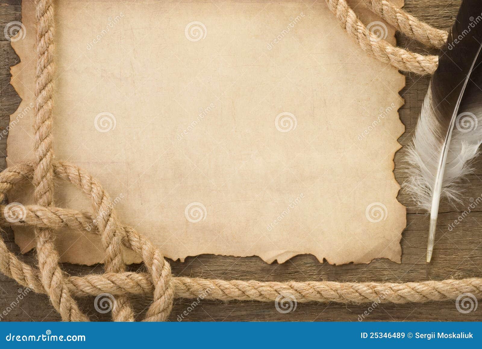 seile und feder auf altem papier der alten weinlese lizenzfreie stockbilder bild 25346489. Black Bedroom Furniture Sets. Home Design Ideas