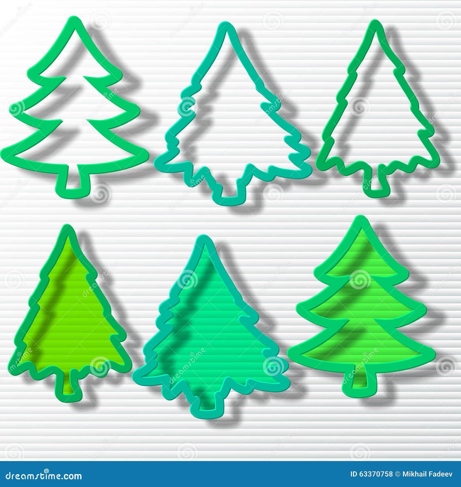 Seis árvores de Natal no grupo