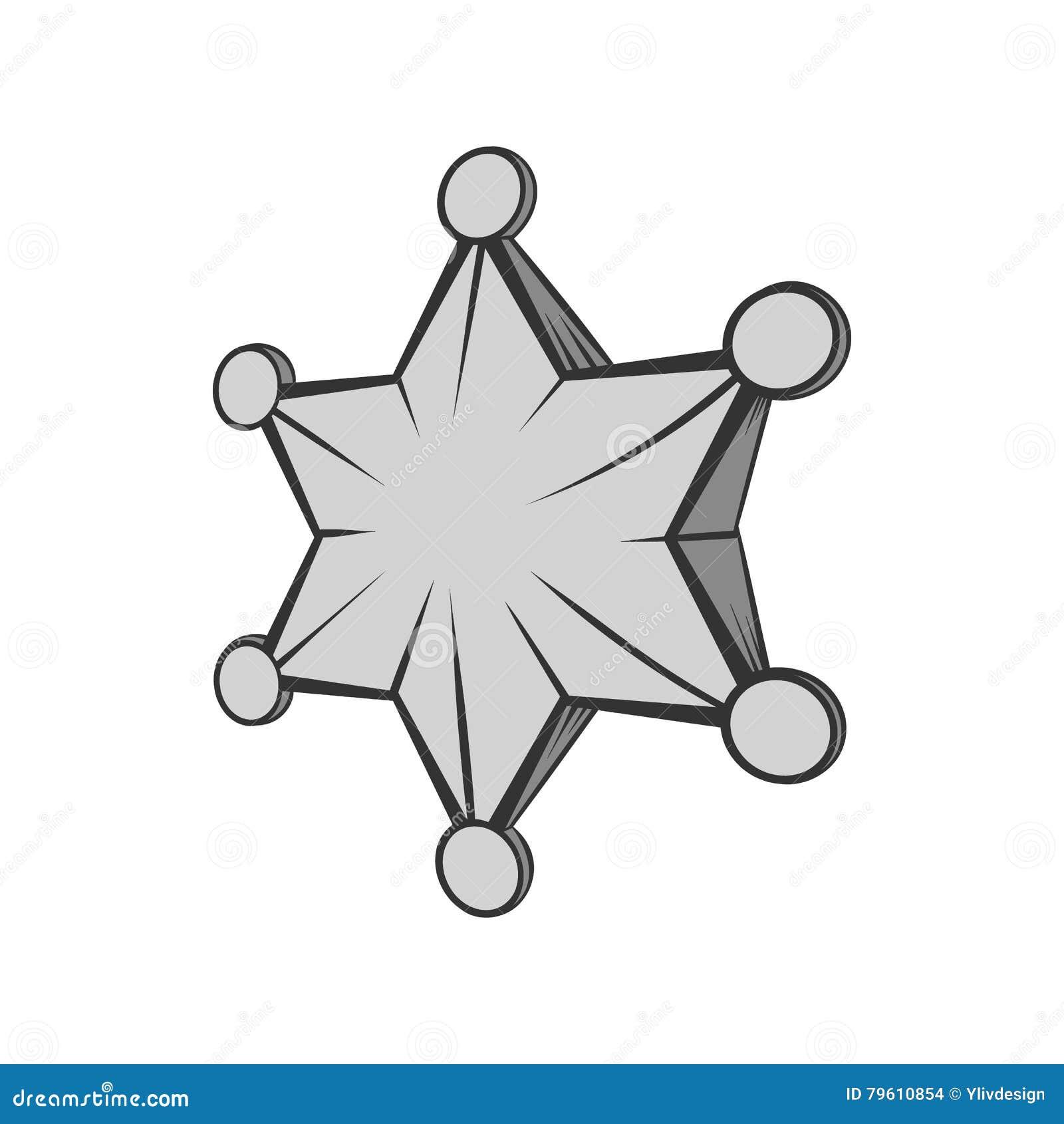 Seis ícones aguçado da estrela, estilo monocromático preto