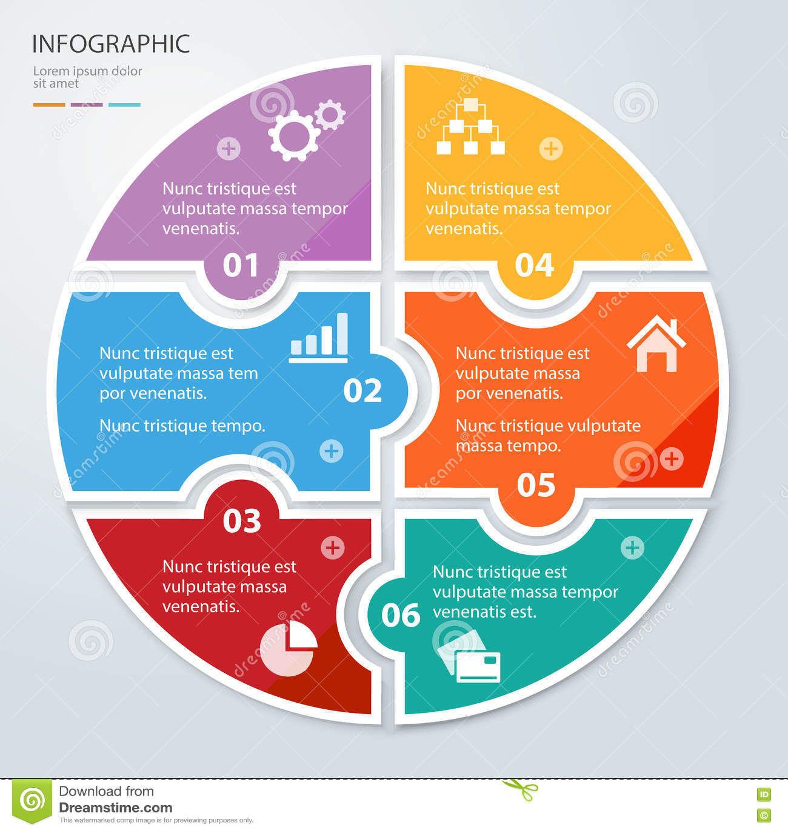 Seis apresentações infographic redondas do enigma liso da parte Diagrama do negócio do círculo