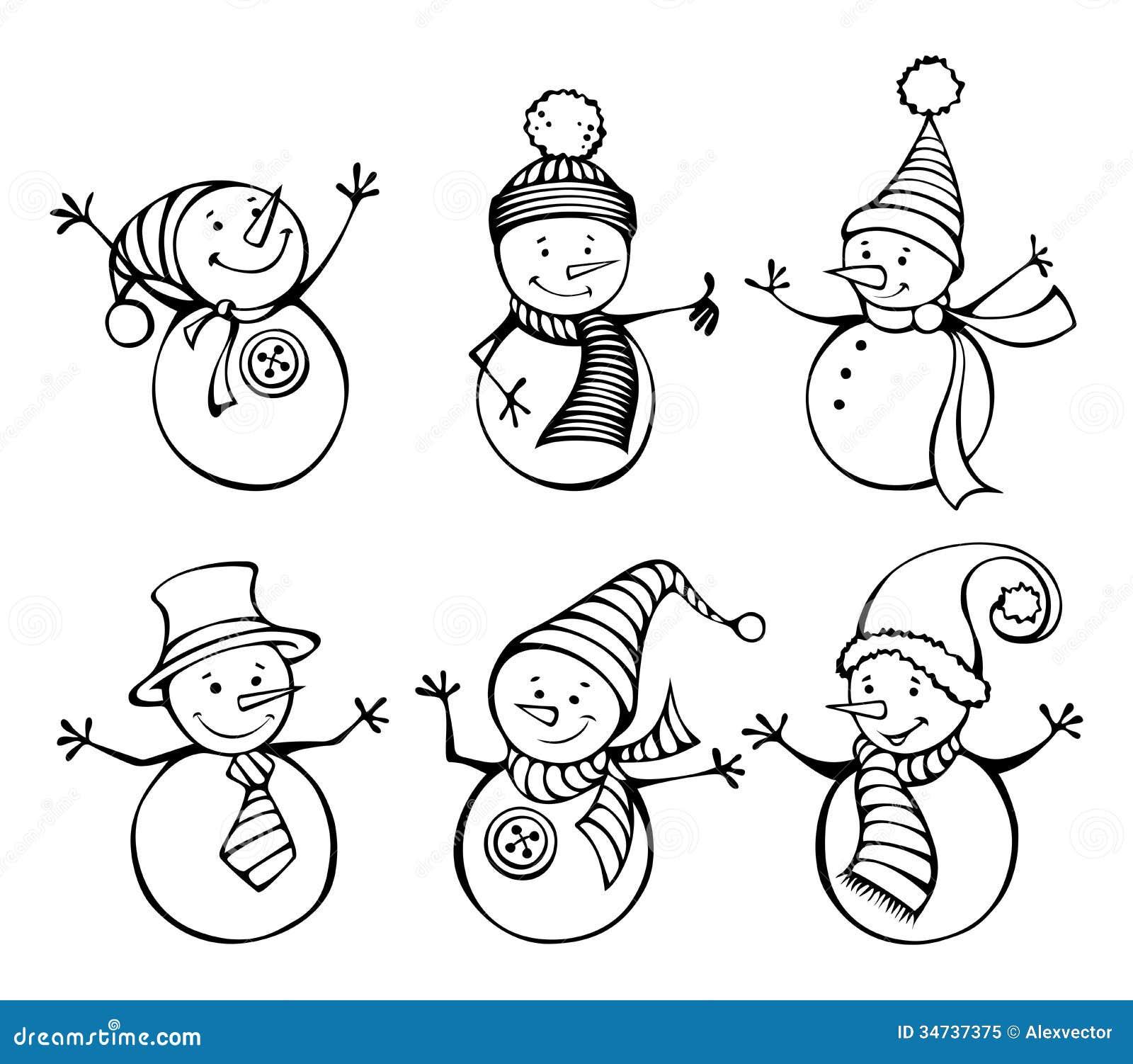 Seis bonecos de neve isolados no fundo branco