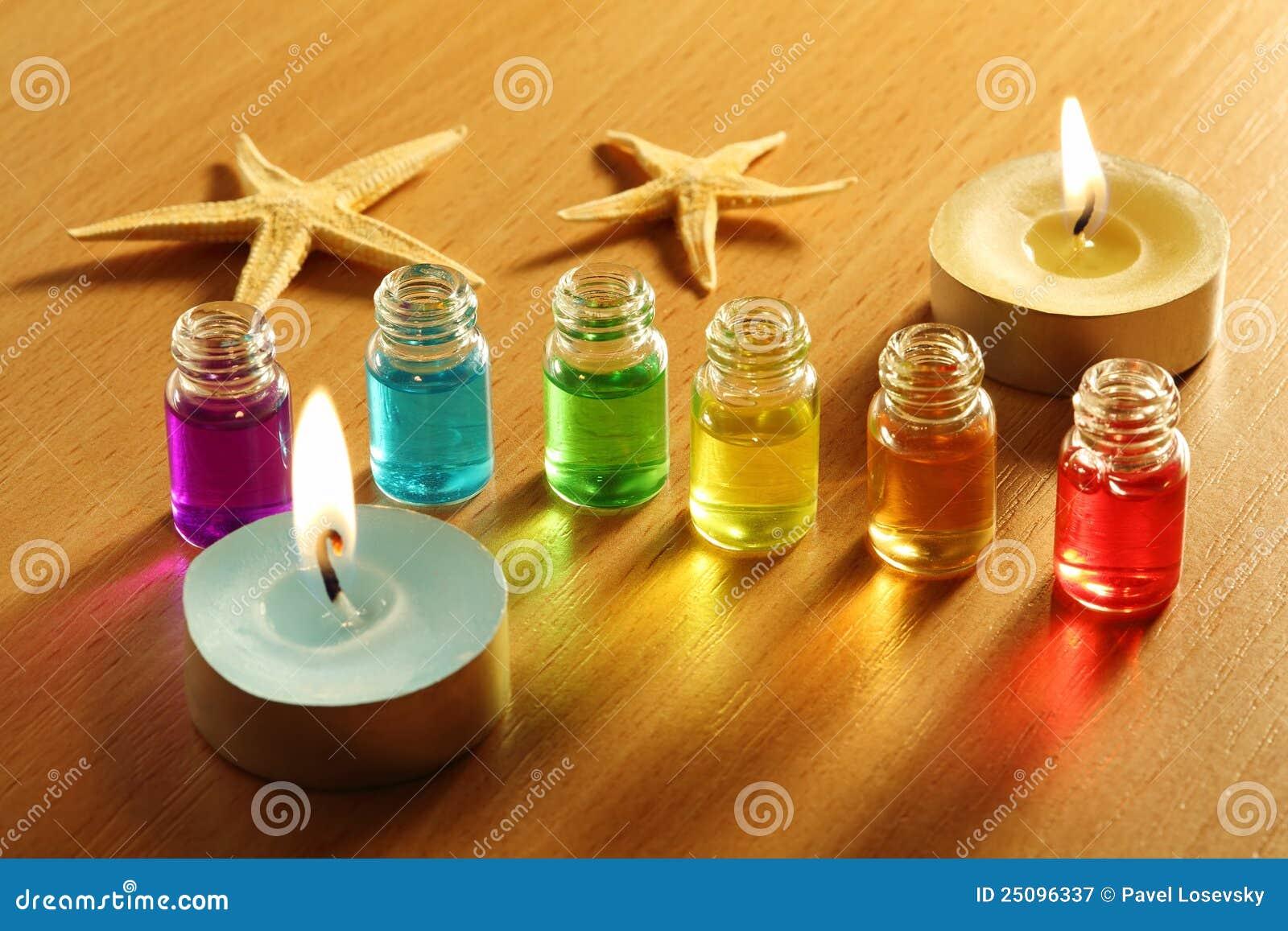 Seis botellas con petr leos velas y estrellas de mar del - Botellas con velas ...
