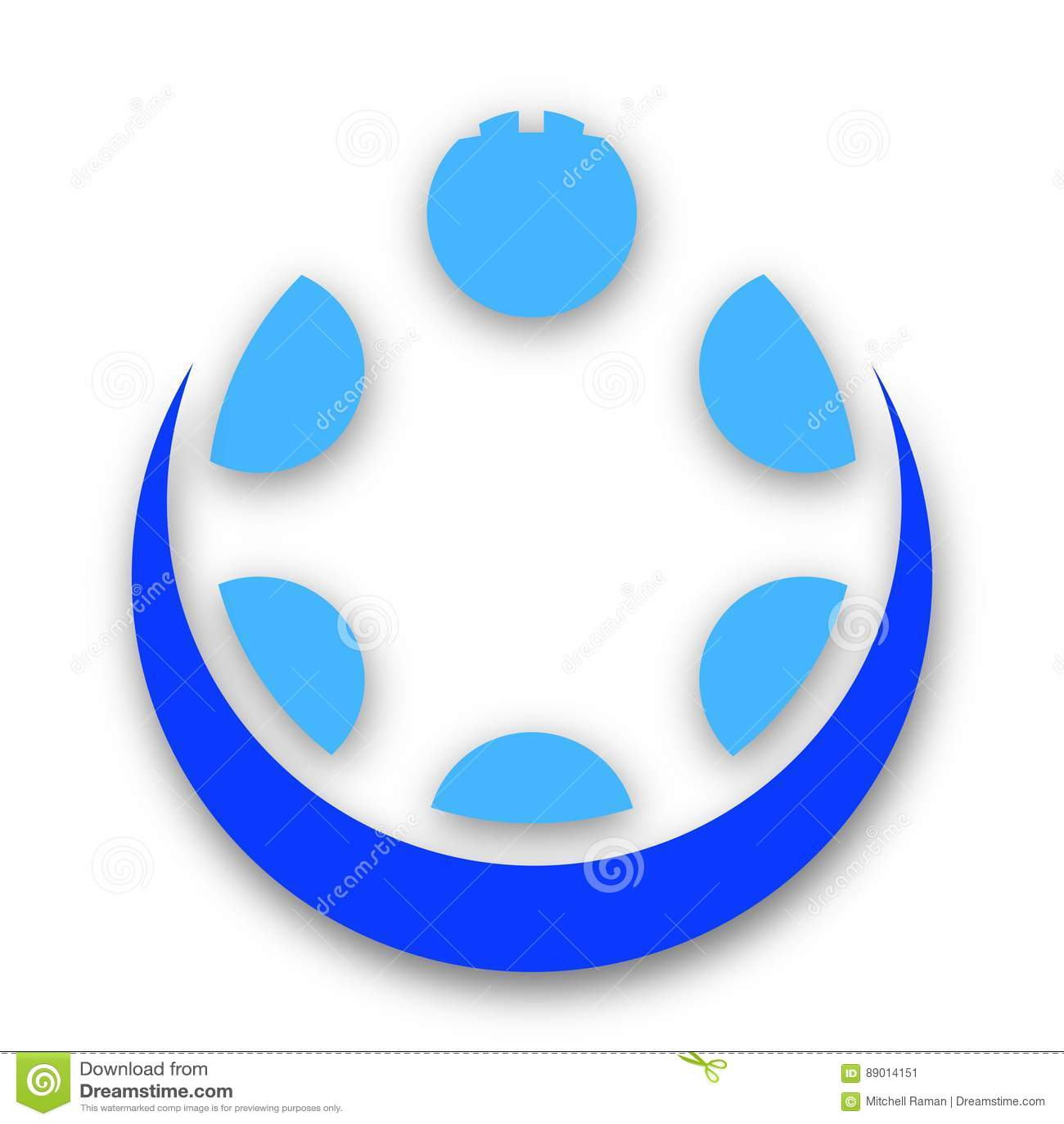 Seis círculos azuis em um conceito espiral da imagem de tipo do projeto