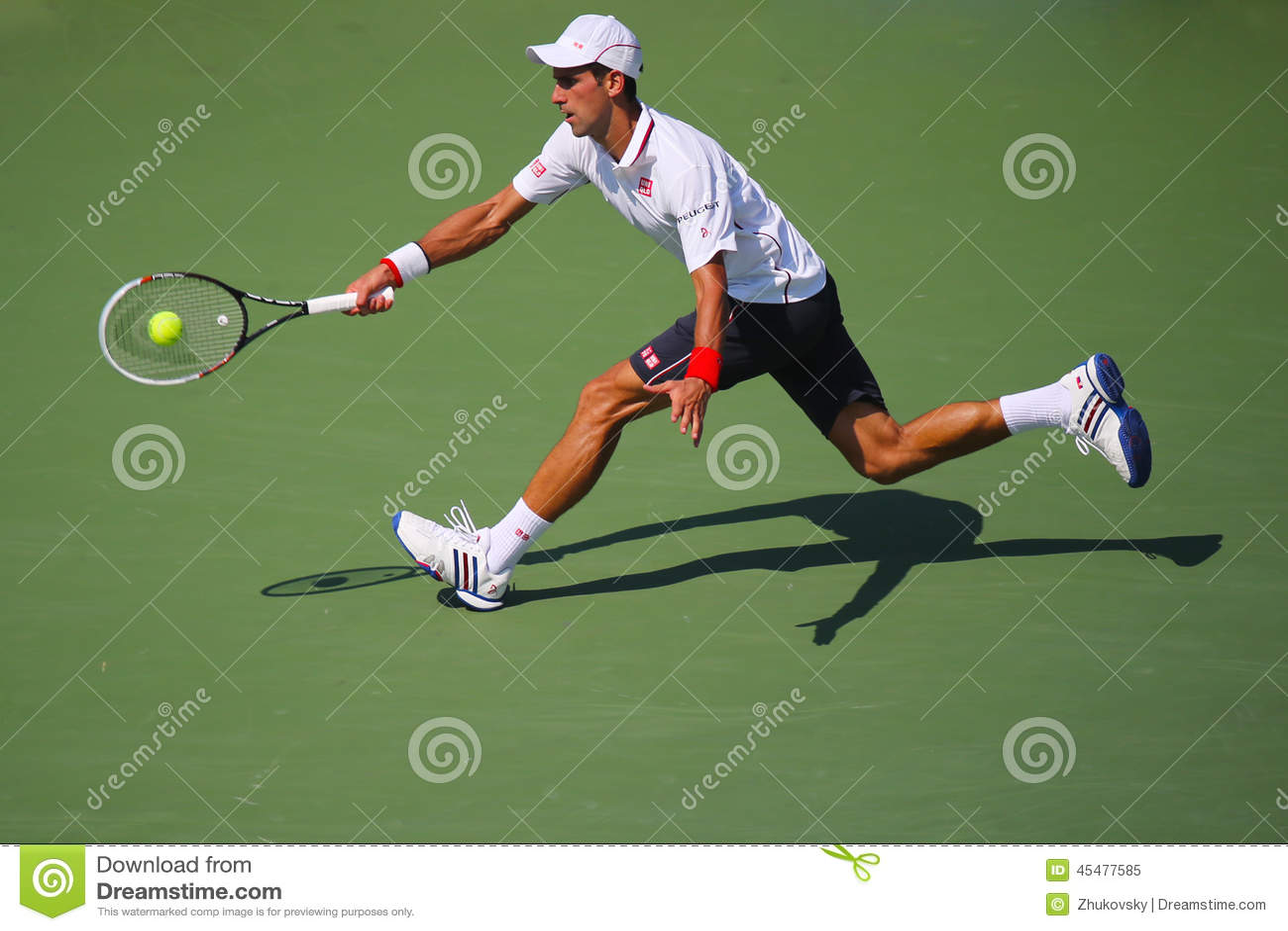 Seis campeones Novak Djokovic del Grand Slam de las épocas durante partido de semifinal en el US Open 2014