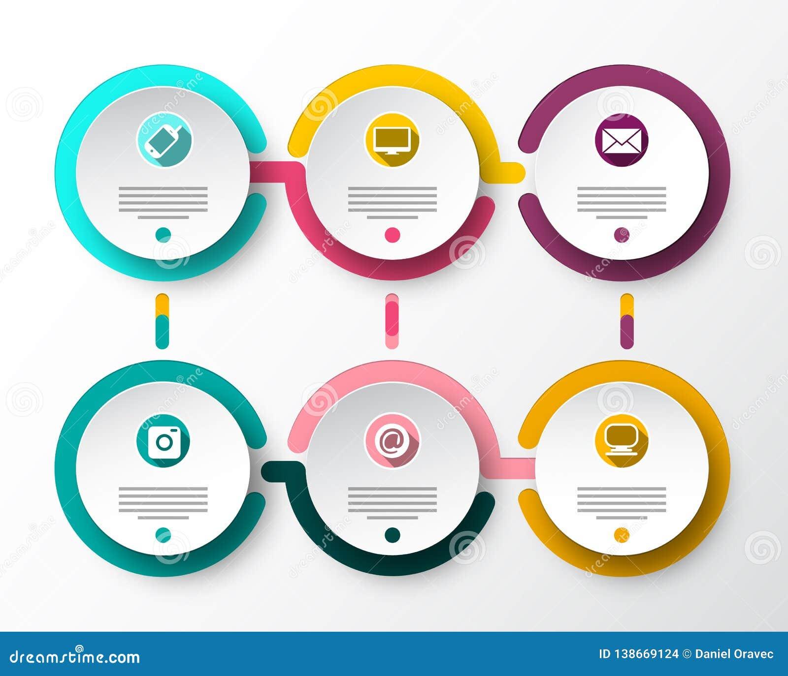 Seis disposições de Infographic do papel do vetor das etapas Projeto do fluxo de dados de Infographics