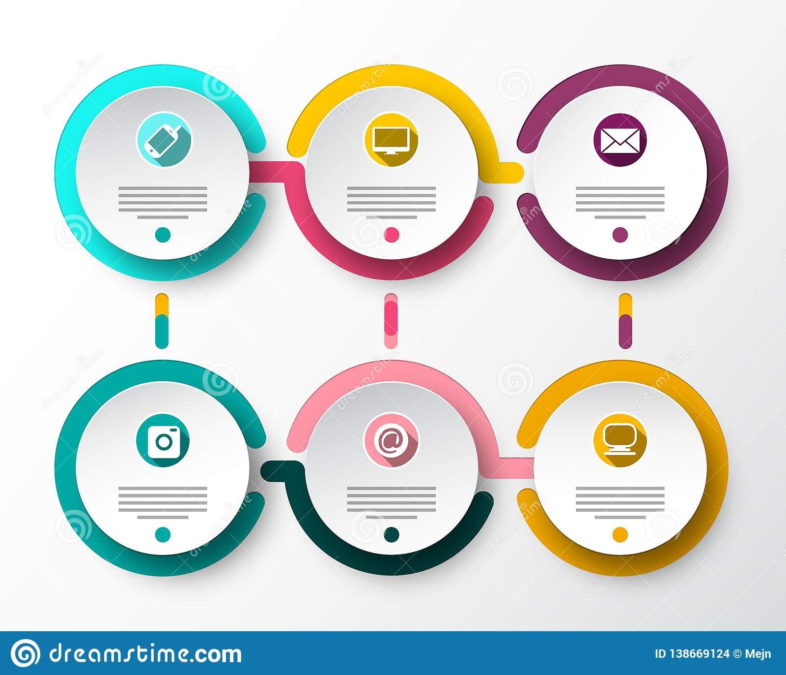 Seis disposiciones de Infographic del papel del vector de los pasos Los datos de Infographics flujo diseño