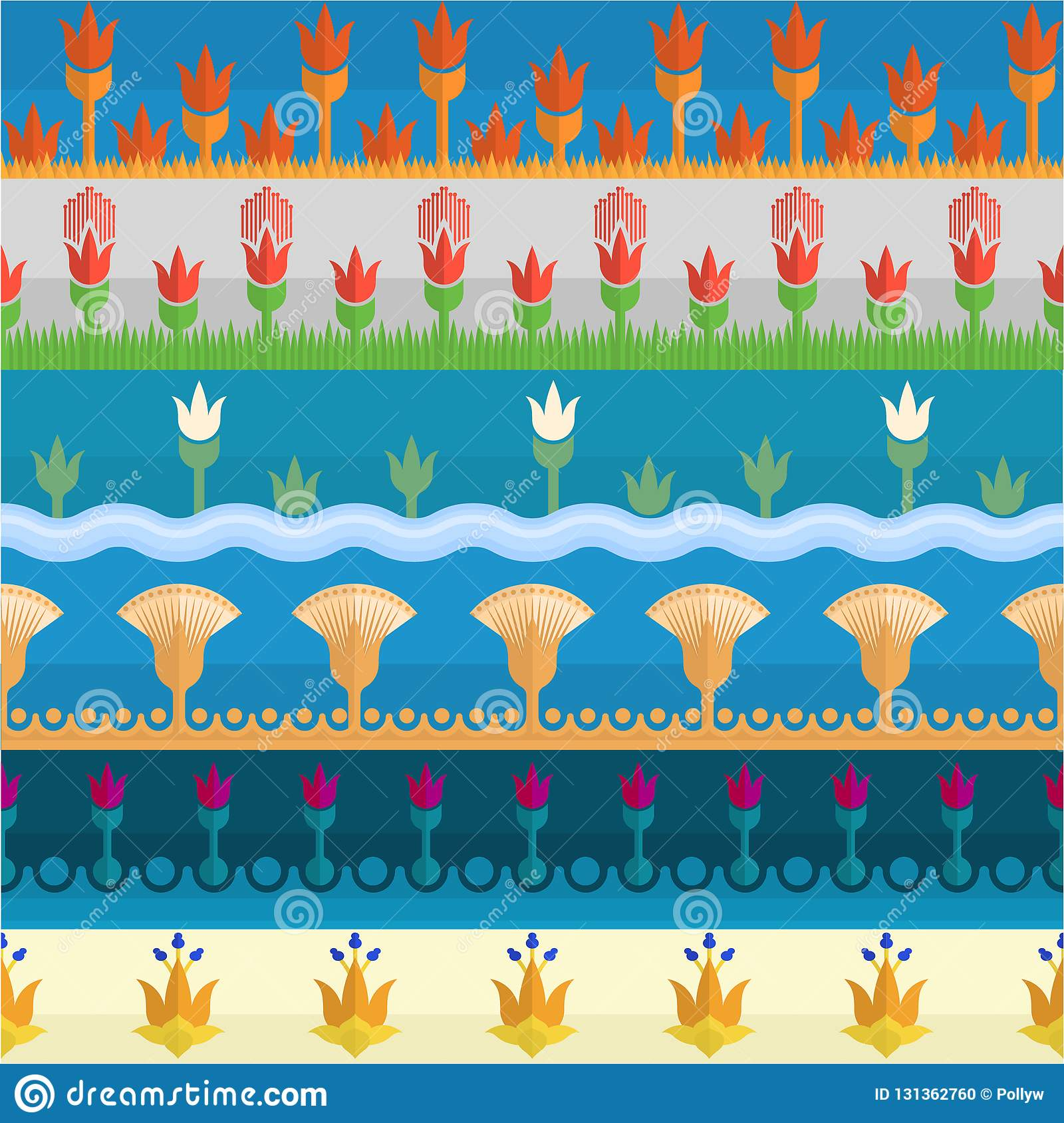 Seis fronteras egipcias del estilo de la flor