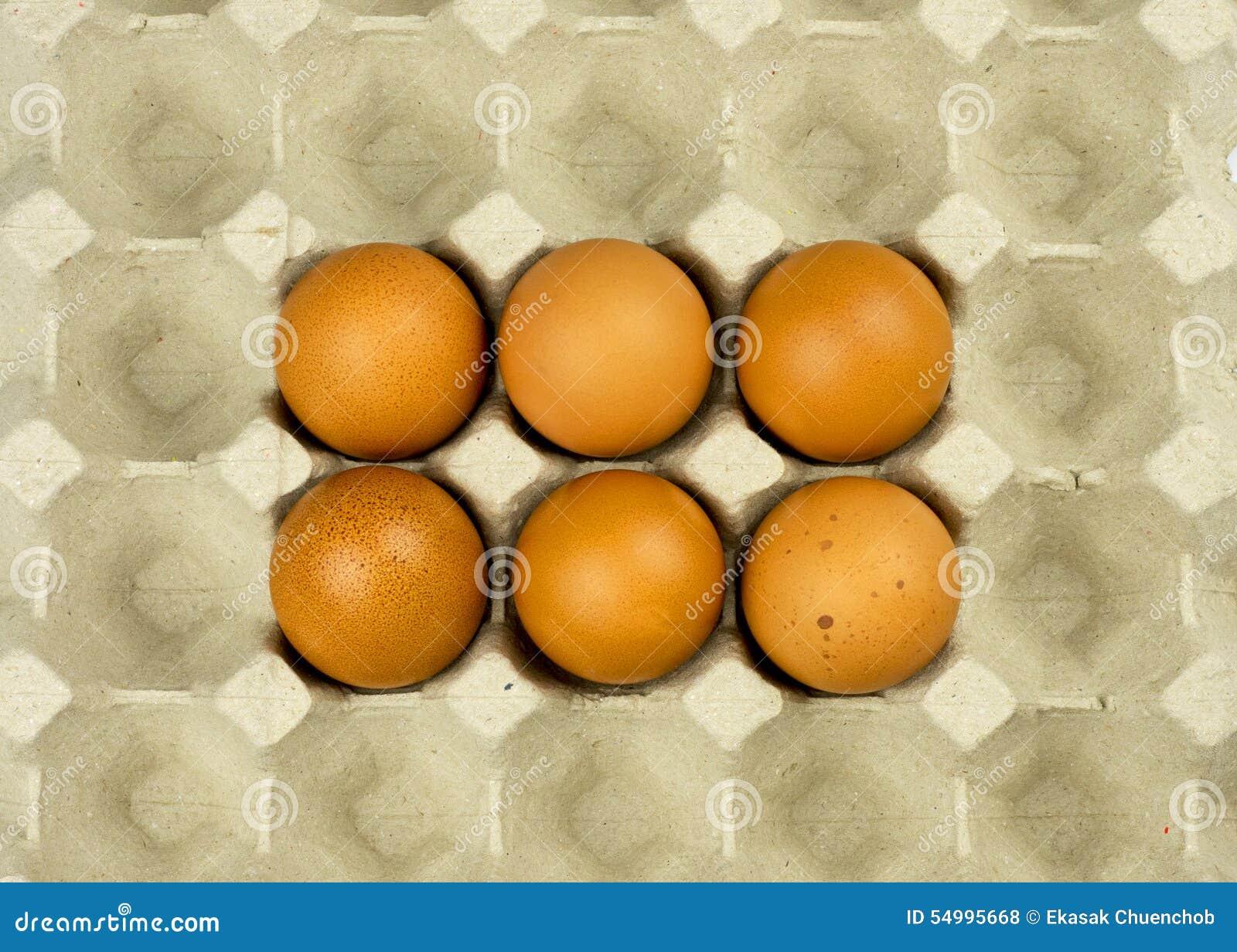 Seis huevos en la bandeja del papel