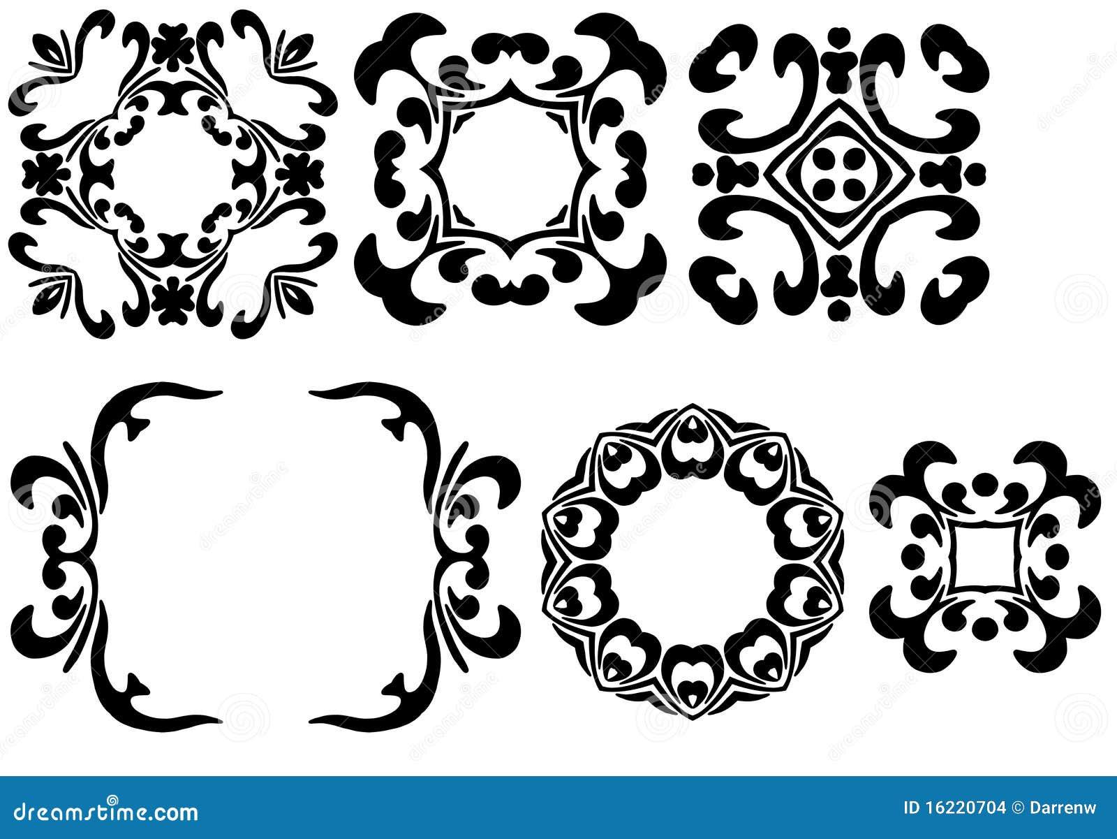 Seis marcos negros stock de ilustración. Ilustración de vendimia ...