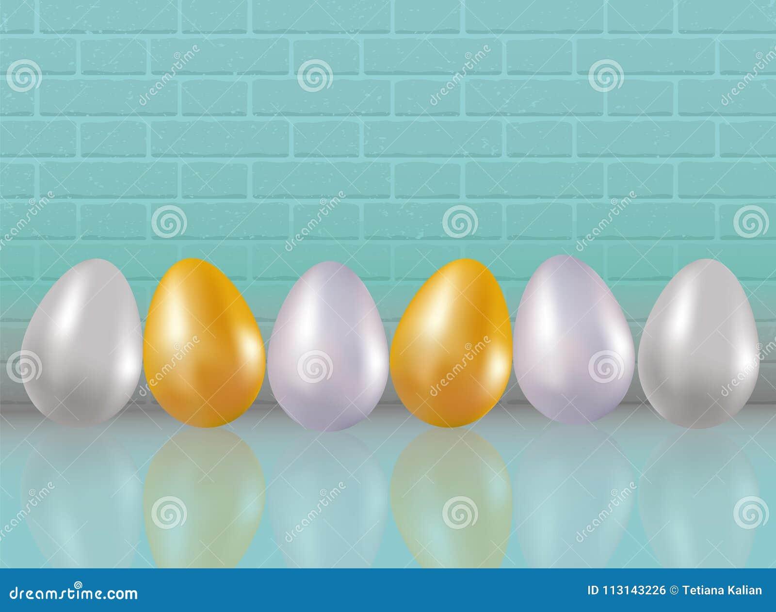 A Galinha Dos Ovo De Ouro Para Colorir seis pintaram ou tingiram-se no ouro metálico, silve, ovos