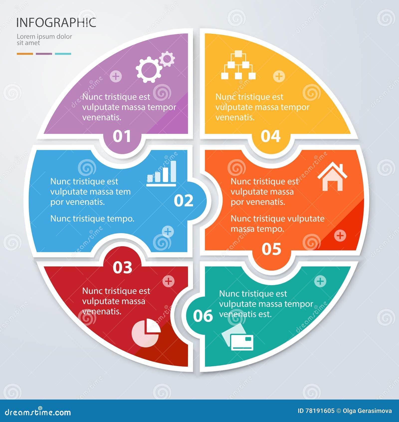 Seis presentaciones infographic redondas del rompecabezas plano del pedazo Diagrama del negocio del círculo