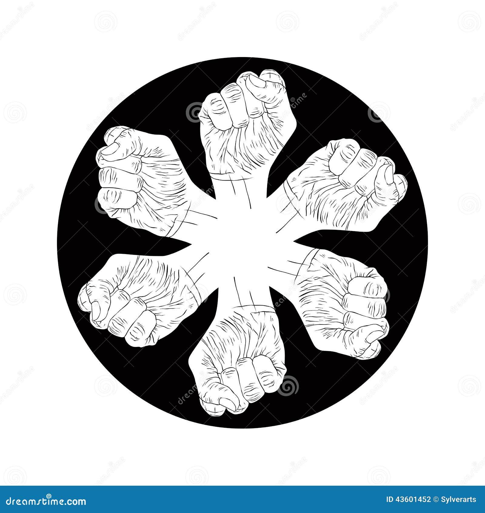 Seis Símbolos Abstractos De Los Puños Emblema Blanco Y Negro Del