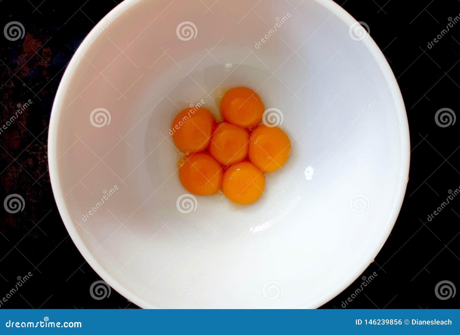Seis yemas de huevo en un cuenco blanco, desde arriba