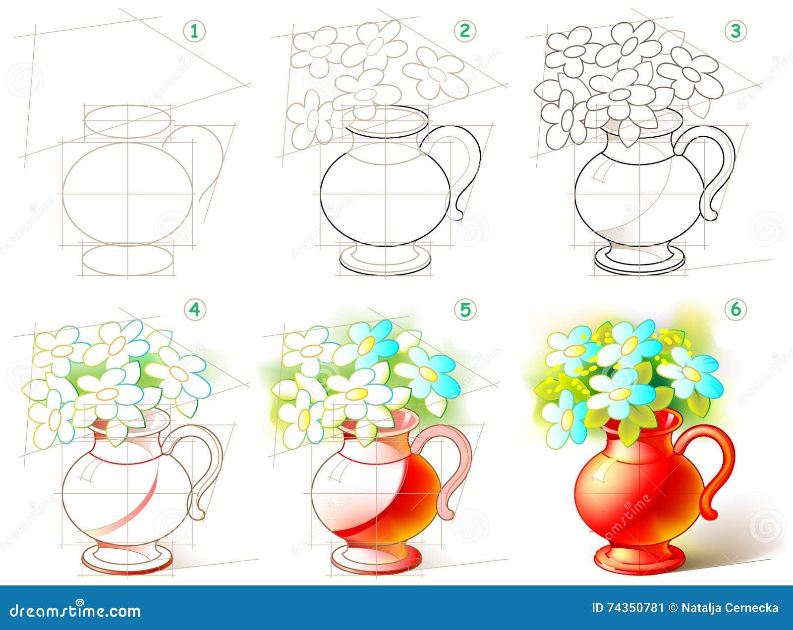 Seite Zeigt Wie Man Schritt Fur Schritt Lernt Einen Schonen Vase